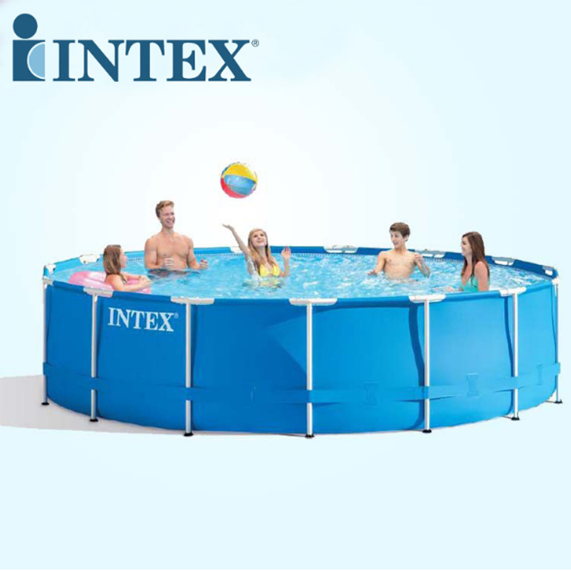 Intex 457 107cm inflatable round frame swimming pool set for Swimming pool set angebot