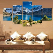 Wall Art Home Decor Painting 5 Pcs Snow Mountains Rivers Natural Landscape Abstract Print Modern Posters Canvas Modular Picture