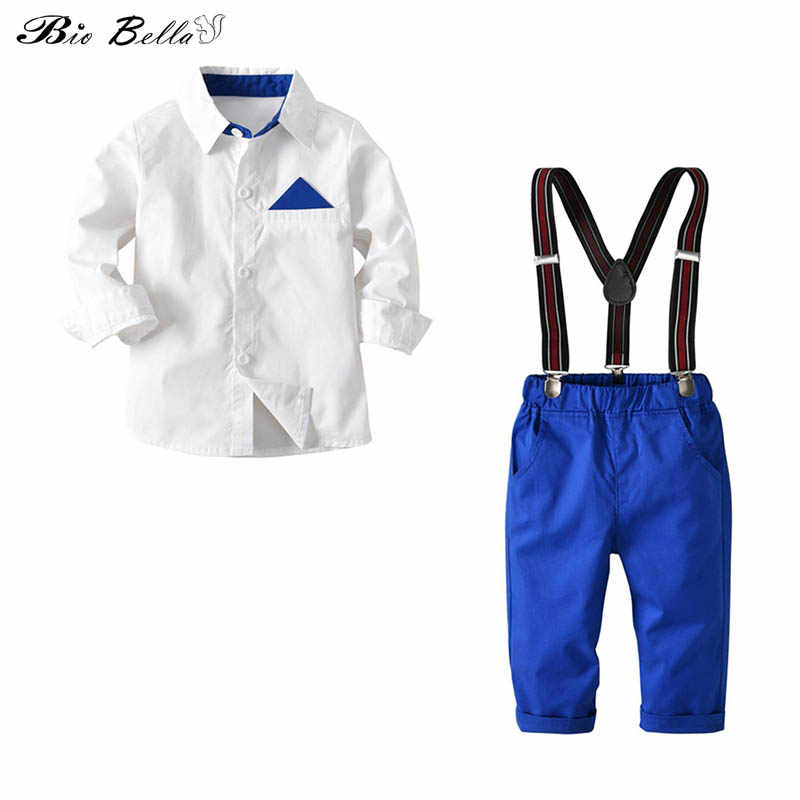 Formal Kids Boy Gentleman Outfits Suits White Shirts and Suspender Pants 2pcs Sets Spring Autumn Fashion Children Party Clothes
