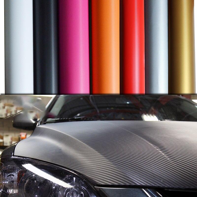 30x127cm Black 3D Carbon Fiber Vinyl Car Wrap Sheet Roll Film Sticker Decal