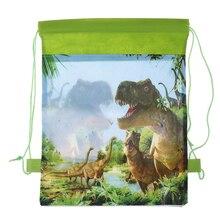 Подарок на день рождения для мальчиков, милый мультяшный динозавр, декорированный тематикой, нетканый материал, подарочные сумки на шнурке