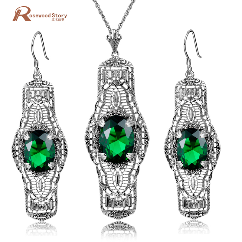 цена на Brand Vintage Jewelry Sets Hollow Out Oval Shape Green CZ Stones Long Pendant Jewelry 925 Silver Earrings Necklace Set For Women