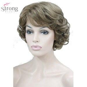 Image 5 - Strongbeauty 여성 합성 가발 capless 짧은 곱슬 머리 금발/검은 자연 가발