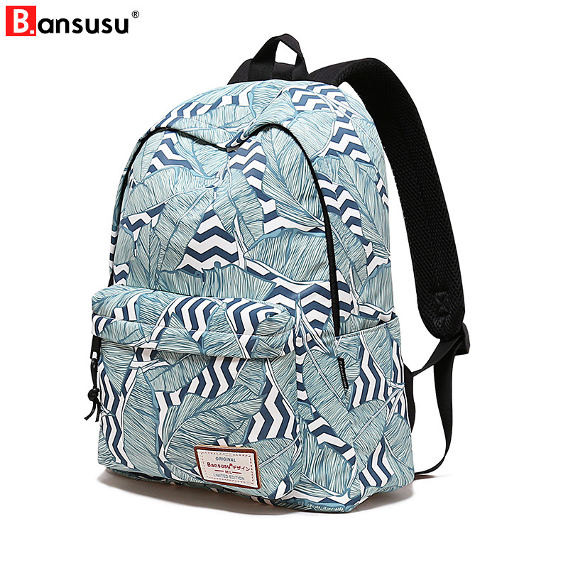 Bansusu Multifunction laptop backpack school bag Printing Female Backpacks for college students Travel and leisure backpack in Backpacks from Luggage Bags