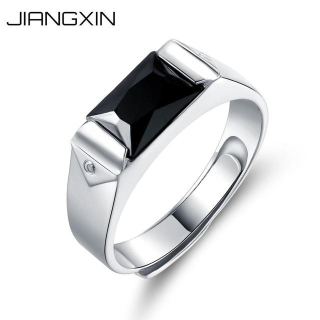 d843d0accafb JiangXin 925 de plata esterlina dedo anillo de los hombres de oro blanco  plateado simulado Diamante