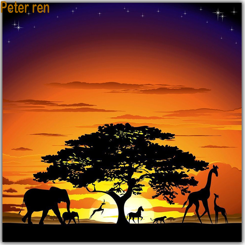 Crafts Full Diamond embroidery horse 3d Square mosaic icon Diamond painting deer Decoration paintings Sunset pine trees Elephant