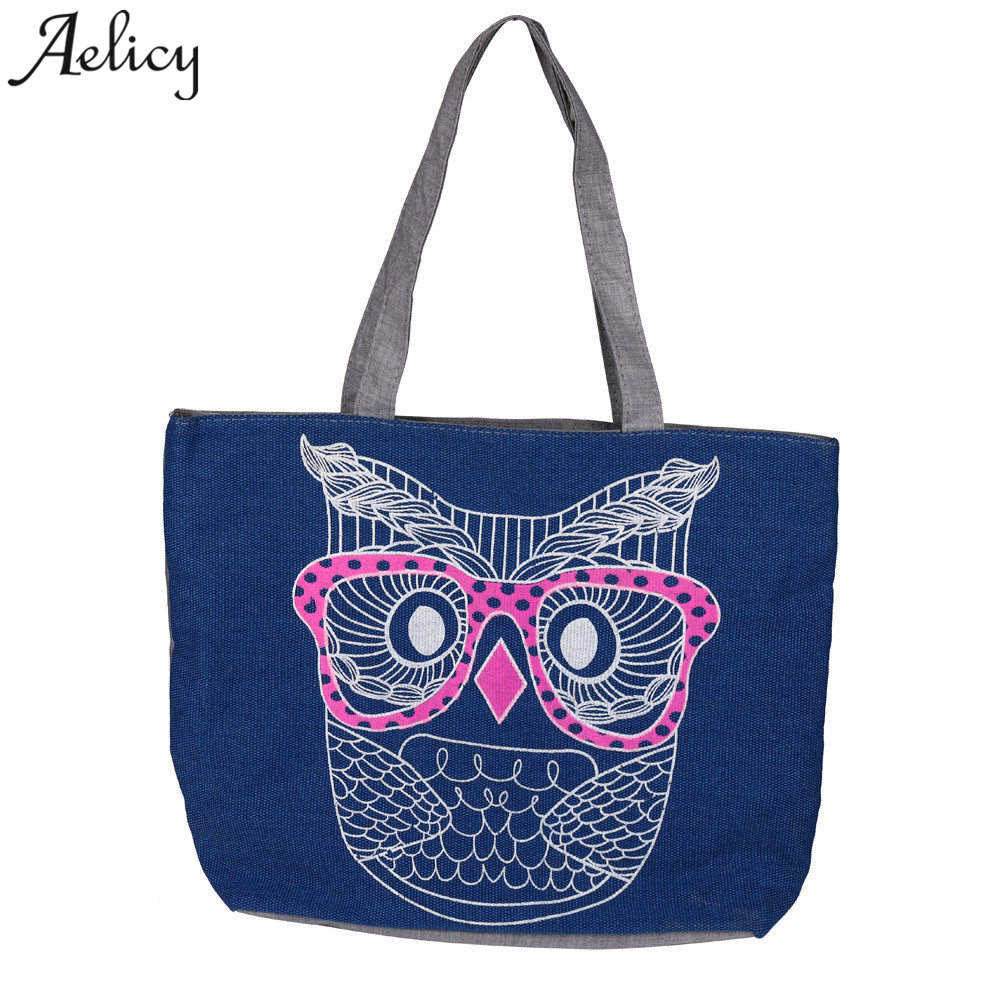 Capacity Canvas Tote Travel Casual Beach Bags Foldable Grocery Bags Reusable Eco-Friendly Supermarket Shopping Bag