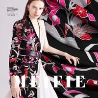 Printing black breathable fabric drape dress fashion fabric wholesale high quality cloth