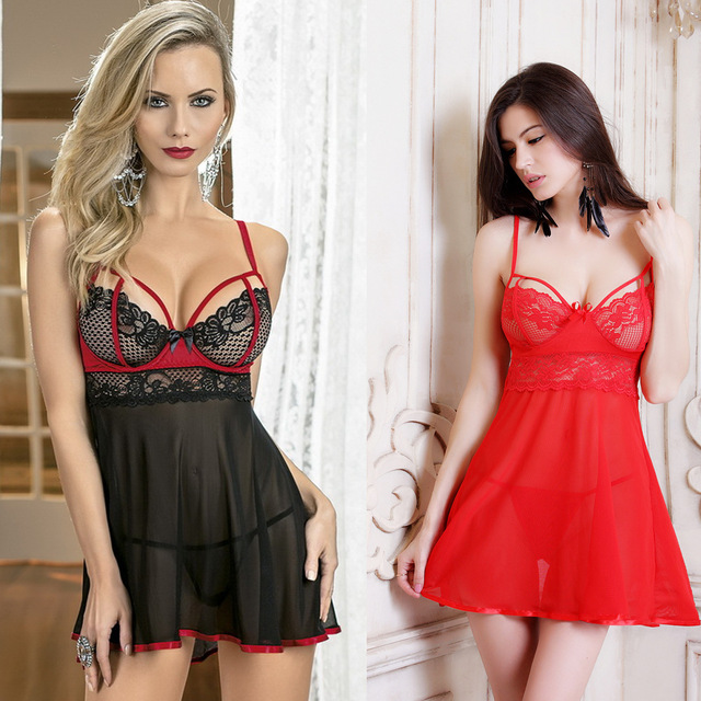 361f79b794 Open Bra See Through Night Gown Lace Halter Silk Slip Sleep Dress  Nightdress Sexy Lingerie Support Night Wear Women Nightgown