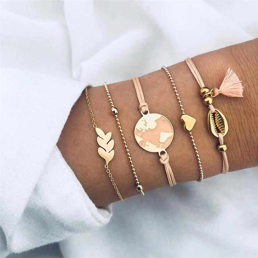 Vintage Accesorios Mujer Boho Bracelets Women Pink Tassel Gold Chain Armband Big Map Heart Love Charm Bracelets Bangles Jewelry