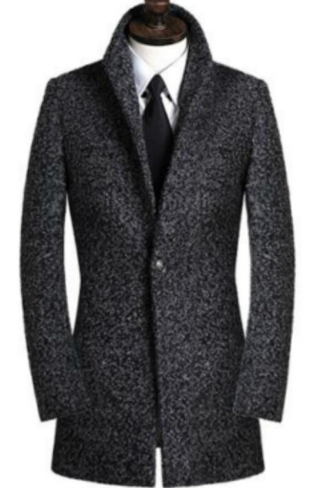 Manteau Fit Manches 9xl Laine Hommes Masculino Taille Gris Affaires Montant Longues À Plus S Slim Pardessus Mode Col Casaco xXAwHqzE