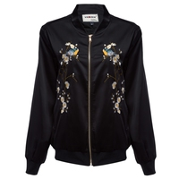 Fashionable V-neck Zipper Embroidery Pocket Jacket for Women