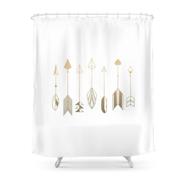 Be Brave Little Arrow Gold Shower Curtain Waterproof Polyester Fabric Bathroom Decor Multi Size Printed