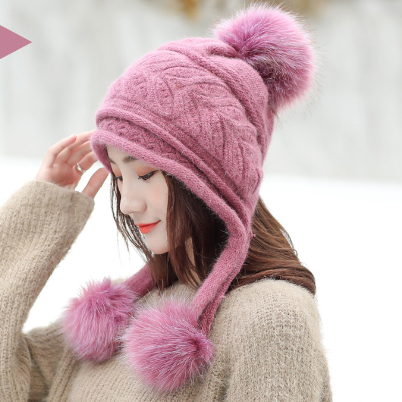 HT2121 Women Winter Earflap Hat Thick Warm Fleece Lined Knitted Hat Ladies Pompoms   Skullies     Beanies   Female Rabbit Fur Ski   Beanie