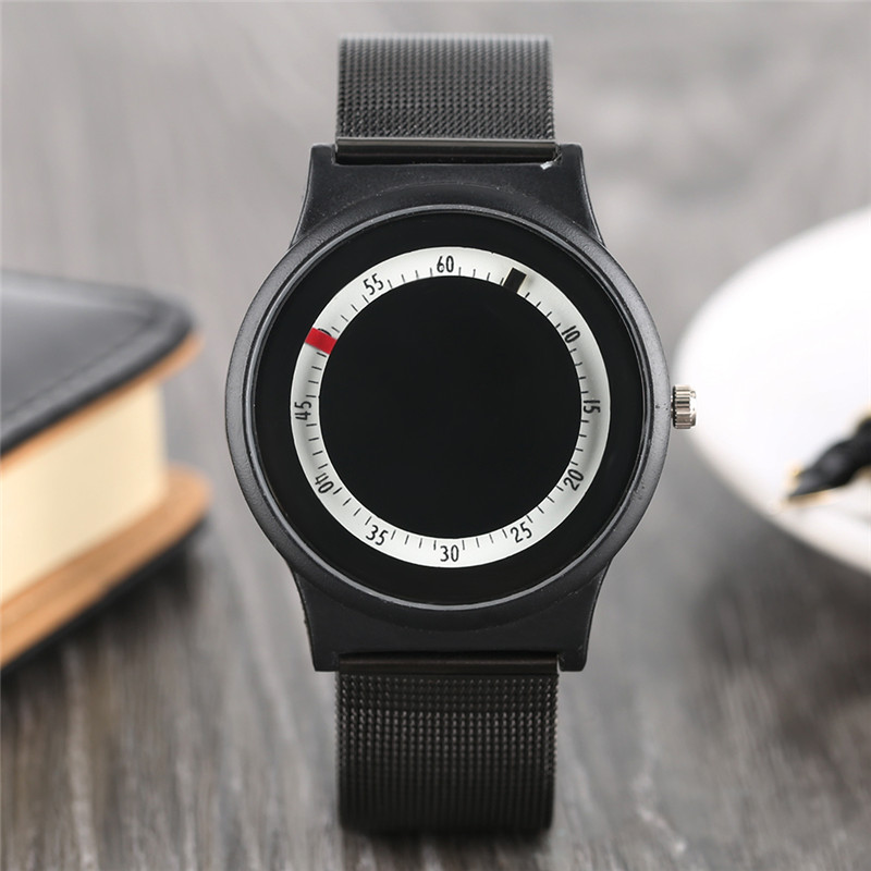 Men Wrist Watch Modern Simple Stainless Steel Mesh Strap Circle Cool Noctilucent Analog Fashion Elegant HQ Minimalist Watches fashion noctilucent wrist watch modern desgin sport men circle round dial quartz watches stainless steel band strap males reloj