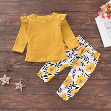 Infant Newborn Baby Girls Clothes Cute Solid Long Sleeve T-shirt Top Floral Pants Clothes Set Outfit 2019 New(China)