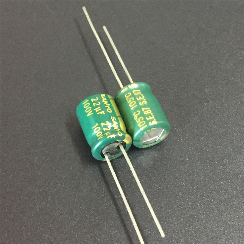 10pcs 22uF 100V Sanyo AX Series 8x11.5mm 100V22uF Low Impedance LongLife Electrolytic Capacitor
