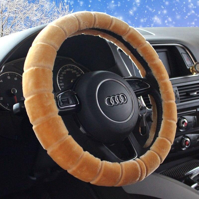 KKYSYELVA Plush Vehicle Steering Wheel Cover Classic Black Car Wheel Protector Auto Steering Covers