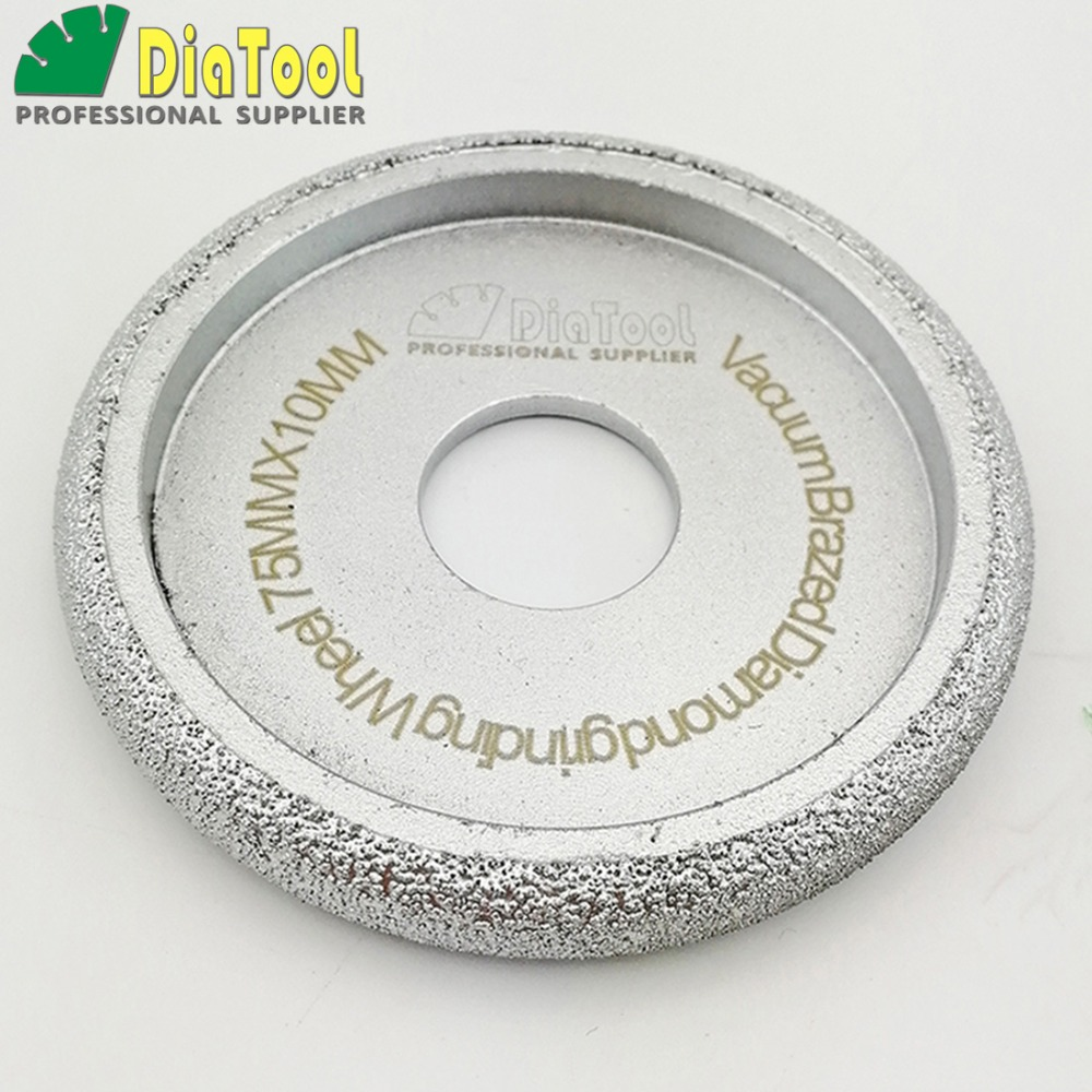DIATOOL Diameter 75mm Vacuum Brazed Diamond Profile Grinding Wheel Diamond Grinding Disc 75mm Abrasive Grinding Wheels