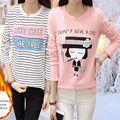 Japan harajuku t shirt women kawaii camisas femininas 2016 winter warm with velvet long sleeve vetement femme