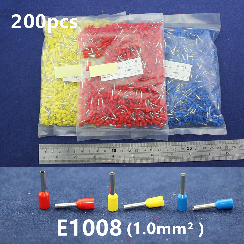 200Pcs Cord End Copper Tube Connectors Insulated Cord Pin End Crimp Terminals Bootlace Ferrules <font><b>E1008</b></font> for 20-18awg wire image