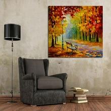 Большой размер Ручная роспись Любовник Дождь Уличный Дерево Лампа Пейзаж Картина Маслом На Холсте