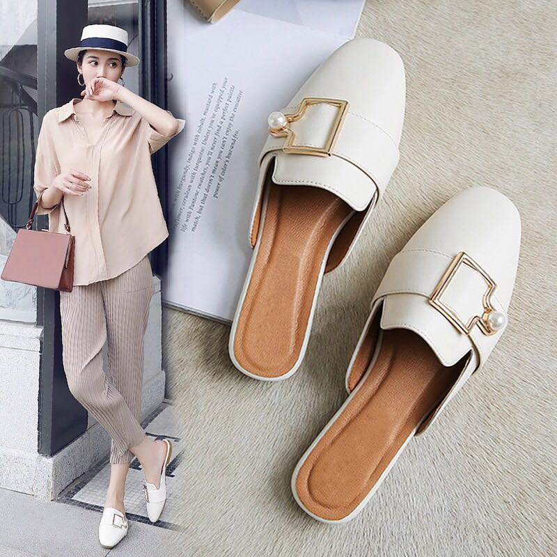Bailehou Women Brand Slippers Flat Women Casual Shoes Slip On Slides Pearl Buckle Mules Square Toe Low Heel Shoes Wedges Sandals buckle slip on wedges