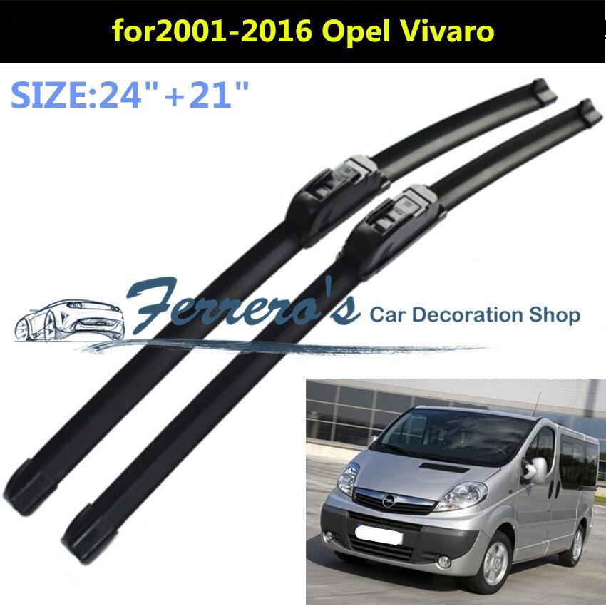 Free shipping 2pcs/lot SG-001 Wiper blades for 2001-2016 OPEL Vivaro 24