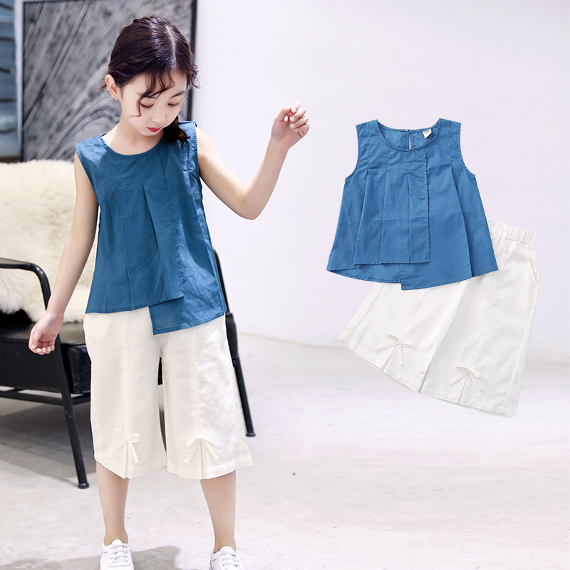Children Clothing Summer 2019 New Big Girls Solid Color Sleeveless Shirt Bow Pants Two Sets of Girls Casual Simple Teen OutfitsChildren Clothing Summer 2019 New Big Girls Solid Color Sleeveless Shirt Bow Pants Two Sets of Girls Casual Simple Teen Outfits