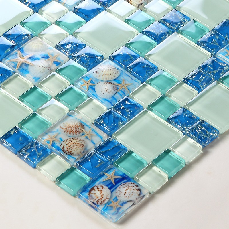 Beach Style Sea Blue Glass Tile Mother Of Pearl Resin Chips Green
