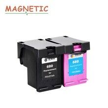 2pk Магнитная совместим Картриджи с чернилами для HP 680 для HP Deskjet 3835 2135 3635 2136 2138 3636 4535 4536 4538 4675 принтер 680