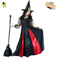 New Arrival Women's Witch Costume Role Play Movie Wizard Witch Dress Cosplay Halloween Party with Hat Long Witch Costumes Party