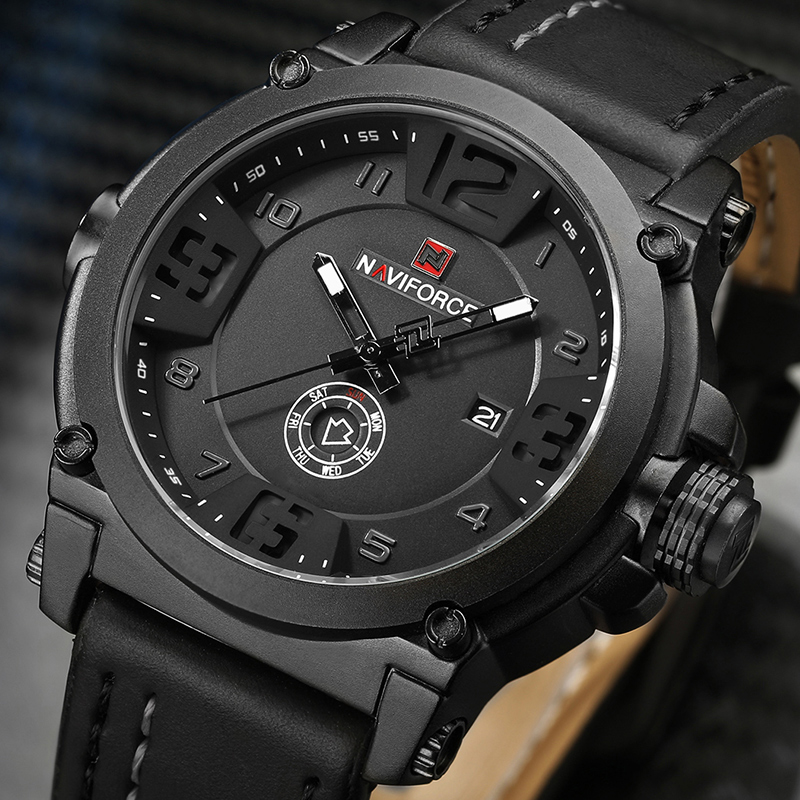 2019 New Fashion Men's Sports Watches NAVIFORCE Military Quartz Wrist Watch Men Leather Waterproof Clock Male Relogio Masculino