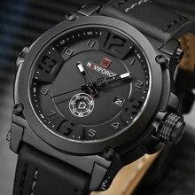NAVIFORCE montre bracelet de sport pour hommes, nouvelle mode, montre bracelet à Quartz, militaire, en cuir, horloge étanche, 2020