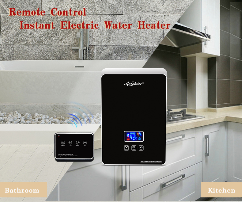 220v-240v 5.5kw Factory Price Bathroom Kitchen Dual-Use Instant Electric Water Heater With Remote Control