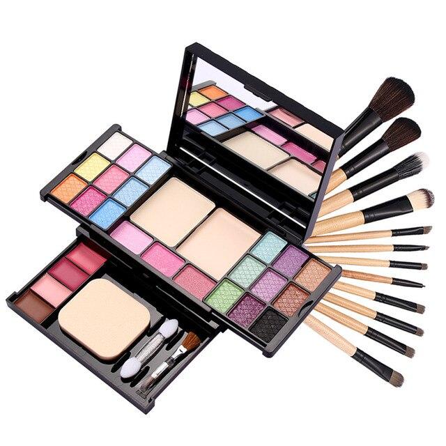 12 PCS Pro Makeup Brush Set with Leopard Bag Makeup Palette Eye Shadow lip gloss blush Maquiagem  Make Up Set Cosmetic Tool