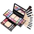 12 PCS Pro Maquiagem Jogo de Escova com Saco Leopard Makeup Palette Sombra de olho brilho labial corar Maquiagem Make Up Tool Set Cosmetic