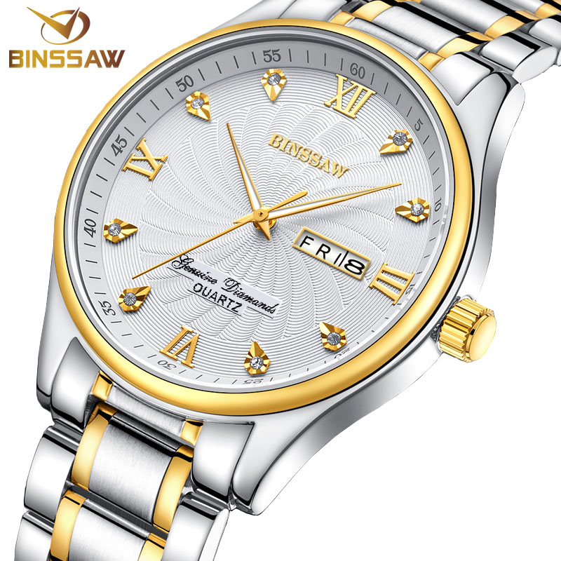 BINSSAW Men Quartz Watches Fashion Top Luxury Brand Watch Business Male Wristwatch Stainless Steel Mens Clock