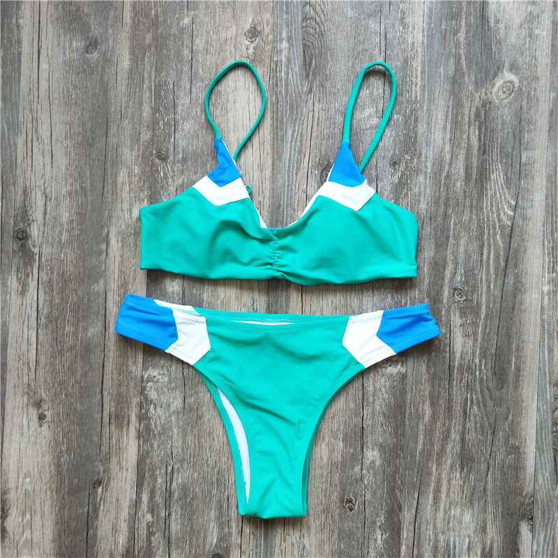 2018 Novo Patchwork Bikini Set Swimsuit Maiô Swimwear Beachwear Para As Mulheres