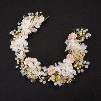 Handmade Gốm Rose Flower Bridal Phụ Kiện Tóc Phụ Nữ Cô Gái Rhinestone Wedding Trang Sức Ngọc Trai Head Mảnh Tóc Trang Trí