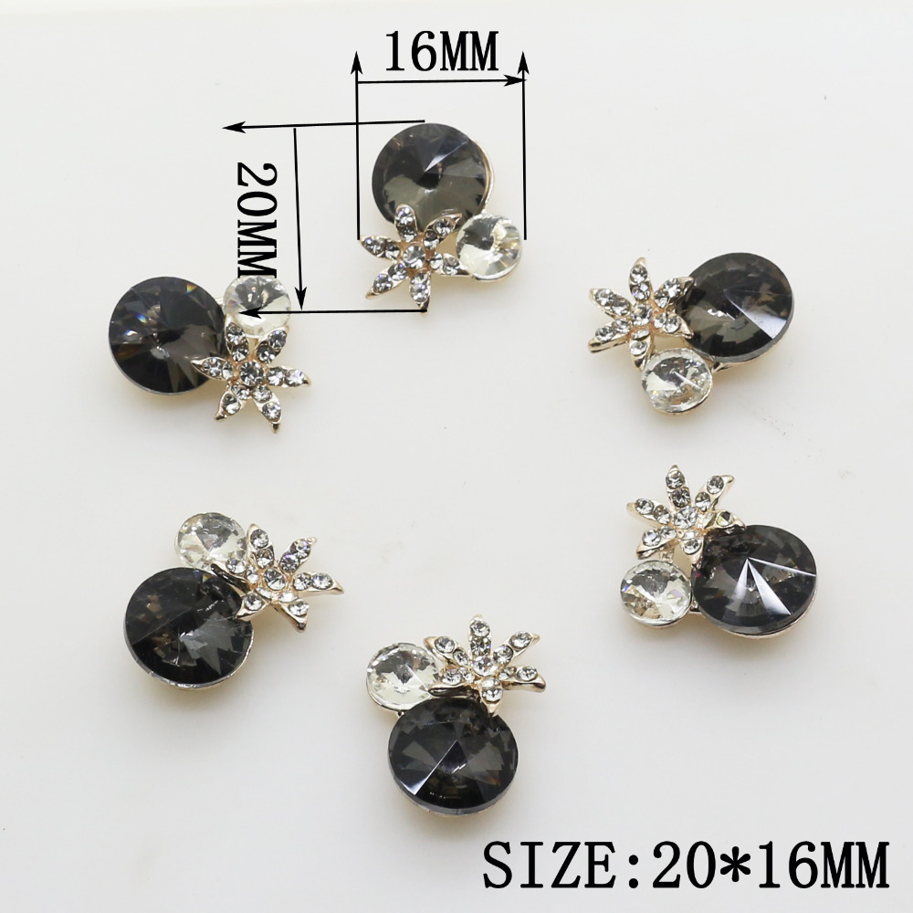 Hot Sale 10pcs 20*16mm Black Acrylic Pendant Metal Rhinestone Crystal Beads Jewelry Accessories/Component for Chain Decoration