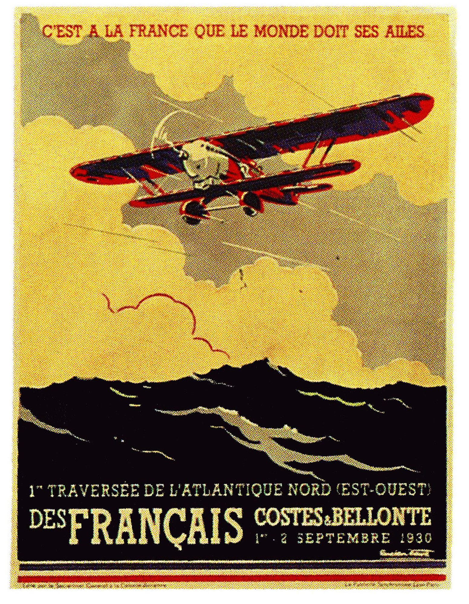 Vintage Advertising Poster Aviation Costes et Bellonte Classic ...