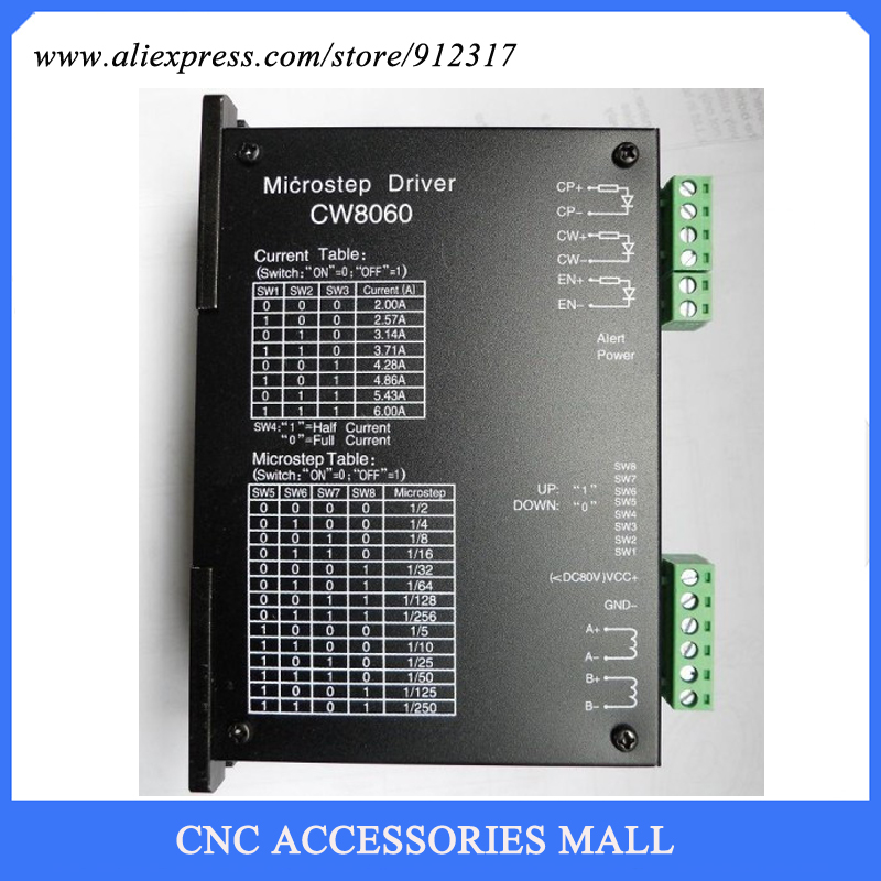 CW8060 Stepper Motor Driver 80VDC/6A/256 Microstep for CNC Router For Nema23,34 Stepper motor cw8060 stepper motor driver 80vdc 6a 256 microstep for cnc router for nema23 34 stepper motor