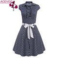 ACEVOG Women Fashion A-Line Dress Vintage Style Turn Down Collar Cap Sleeve High Waist Polka Dot Swing Dress With Belt