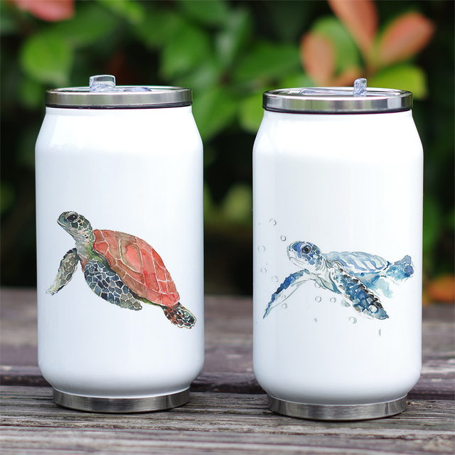 Turtle Print Stainless Steel Portable Water Bottle 2