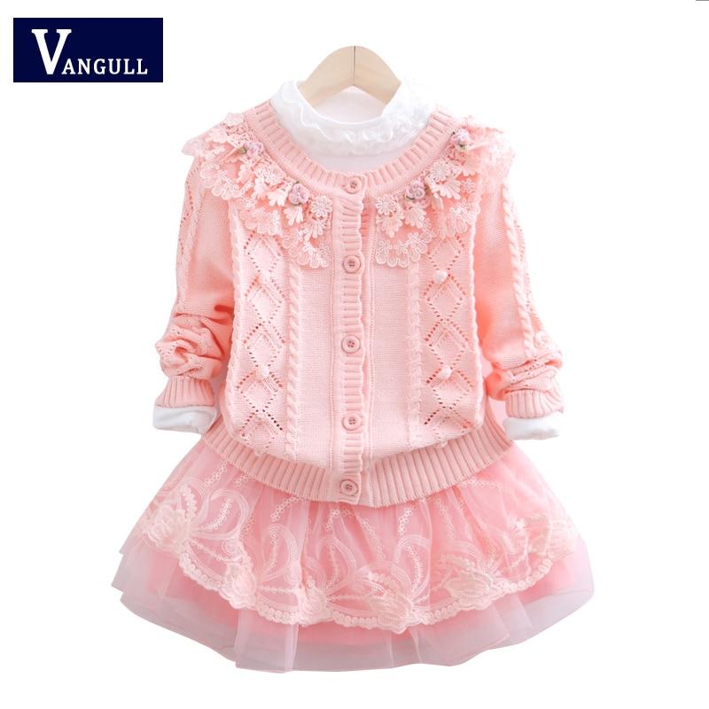 2017 autumn children fashion sweaters, three sets of hot, lace stitching, 3-11 year old girl T-shirt + sweater + skirt children of rhatlan
