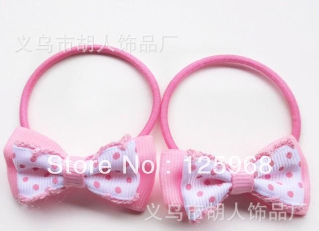 Free Shipping,2016 New MOQ=50pcs Girl Kids Dots Bowknot Tiny Hair Accessary Hair Bands Elastic Ties Ponytail Holder
