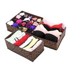 3 pçs dobrável não tecido casa caixa de armazenamento roupa interior para sutiã gravata meias recipiente organizadores armário desenhar divisores