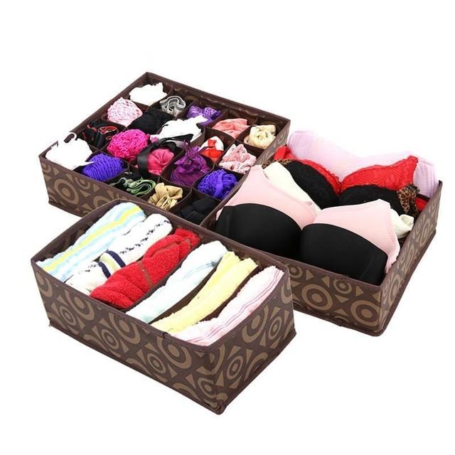 3PCS Foldable NonWoven Home Underwear Storage Box For Bra Tie Socks Container Organizers Closet Draw Dividers