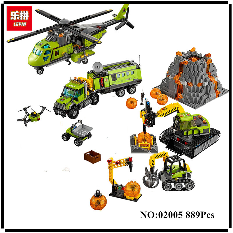 Lepin 02005 889Pcs City Series The Volcano Exploration Base Set Children Educational Building Blocks Bricks Boy Toys lepin 02012 774pcs city series deepwater exploration vessel children educational building blocks bricks toys model gift 60095